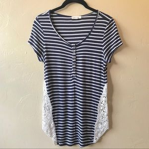 Paper Tee Nautical Blue Striped Crochet Lace Top